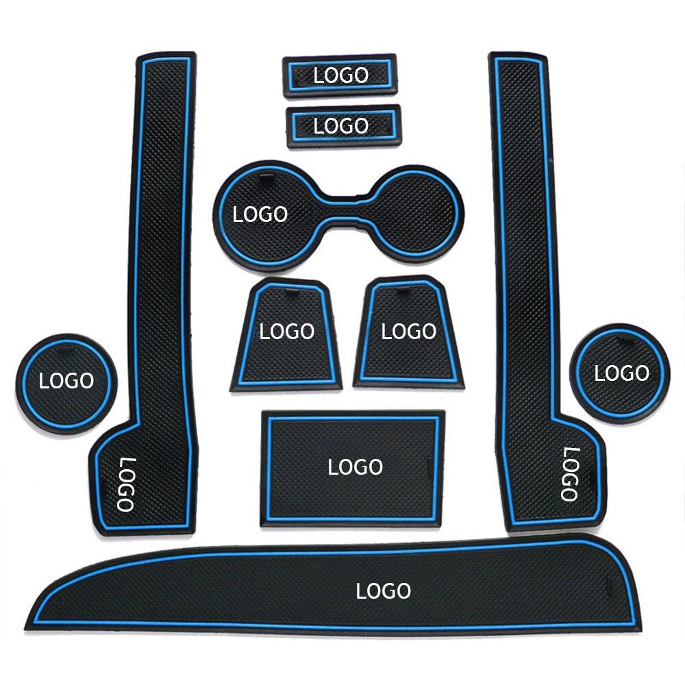Door Slot Pad Rubber Mats Car Anti-dust Door Slot Pad Rubber Door Slot Pad Arm Box Storage Mat Car Interior Door Cup Cushion For VW Volkswagen Polo 2011-2016 Interior Accessories Color : White