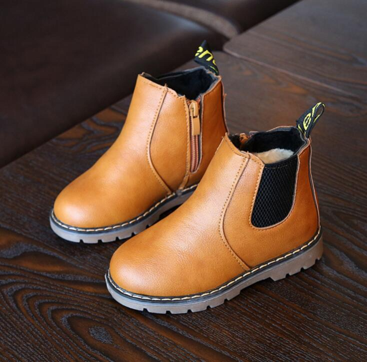 New Autumn Children Shoes Pu Leather Waterproof Martin Boots Warm Kids Snow Boots Girls Boys Rubber Boots Fashion Sneakers #3