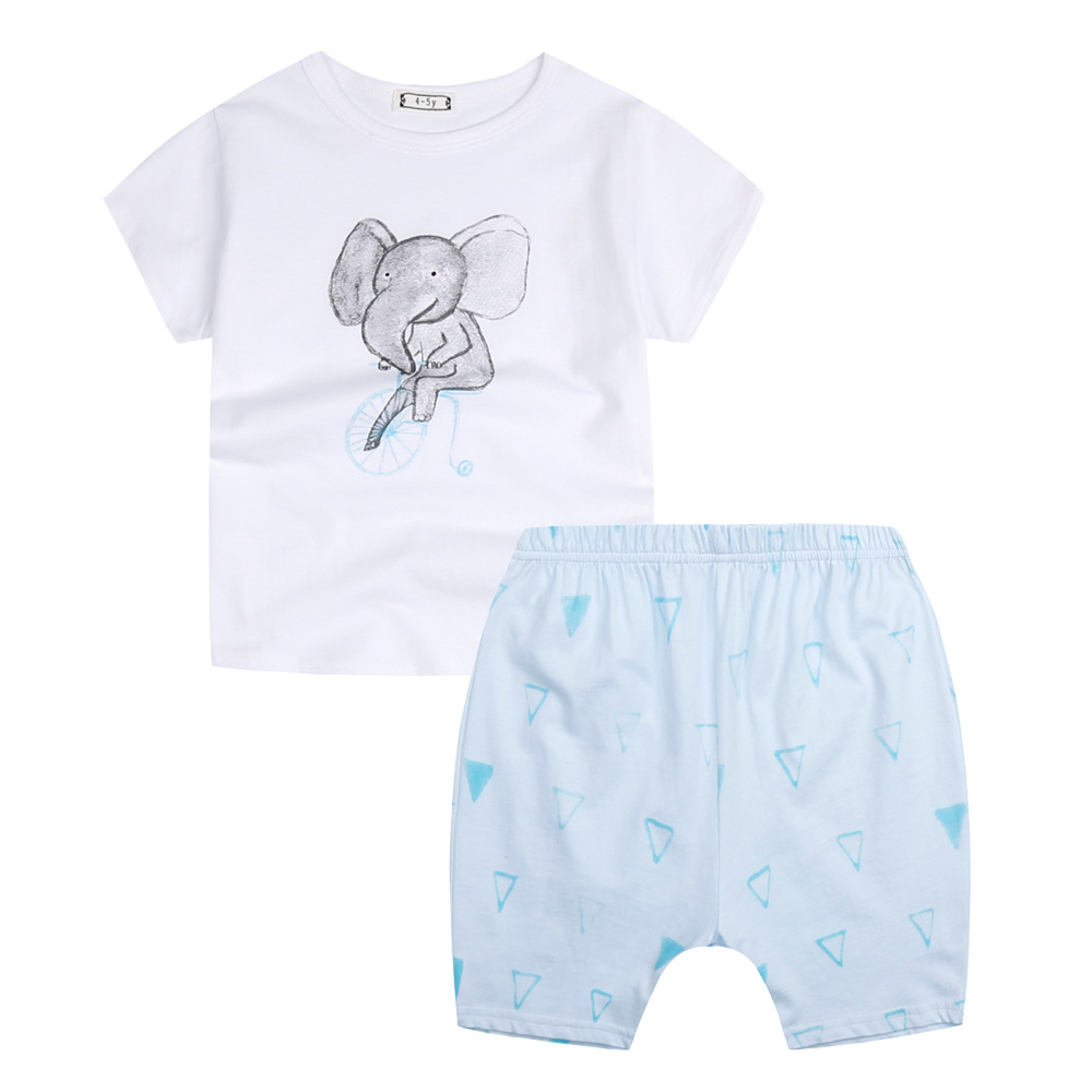 Toddler Girl Clothing Summer Sets T shirts+Shorts Kids Boys Short Sleeve Elephant Printed Cotton Children Clothes for Baby Boys