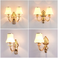 Traditional Wall Sconce Lamp Classic European Style Gold Wall Lighting Fixture for Bedroom Headboard Living Room Home Decoration