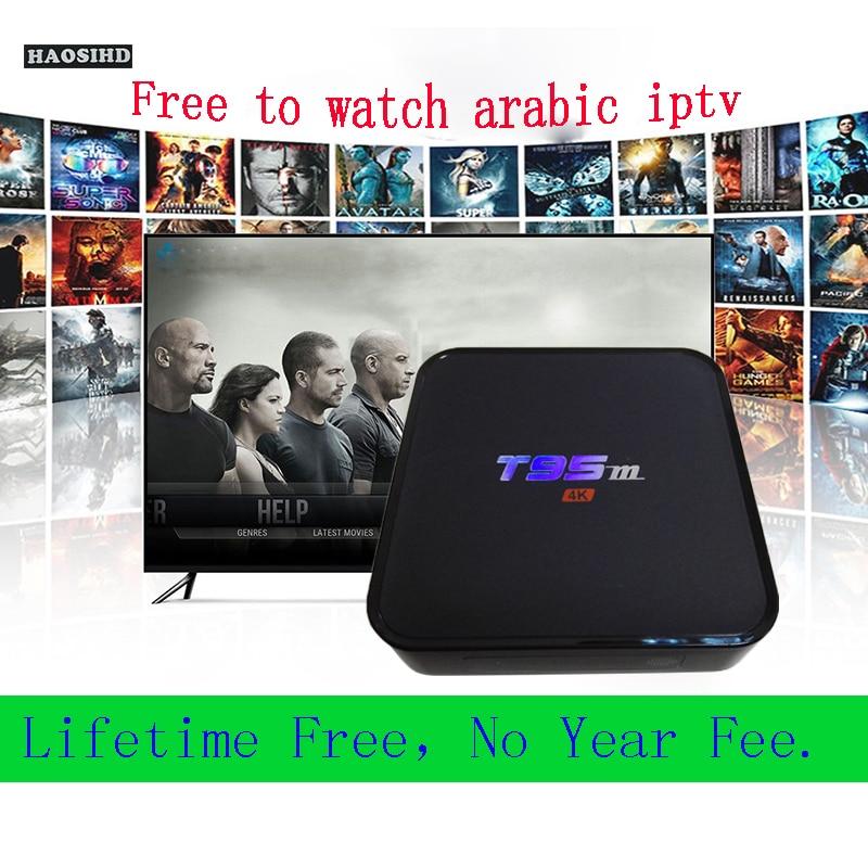 Arabic iptv box T95M no monthly fee Free forever iptv m3u support 2500+ Arabic France Norway sweden Australia USA channels цена