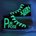 2017 New Justin Bieber Canvas Shoes Women High Top Boots Hand Paint Light Shoes Graffiti Glowing Luminous Shoes Zapatos Mujers