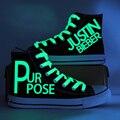 2017 Nueva Justin Bieber Zapatos de Lona Mujeres High Top Zapatos Botas Zapatos de Graffiti Pintura de Luz Que Brilla Luminoso Mano Mujers