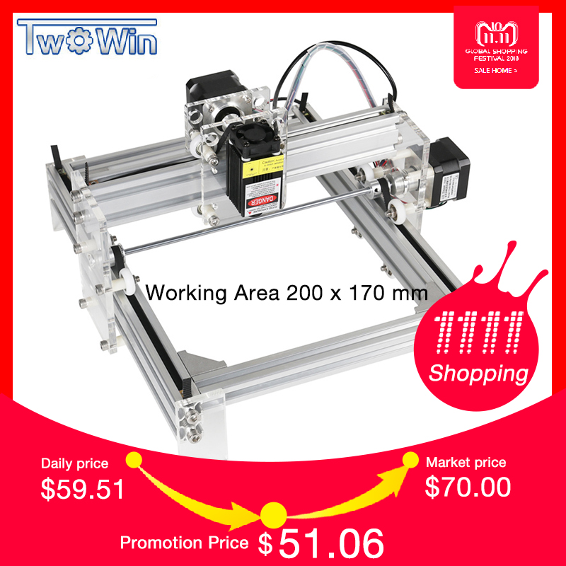 Twowin 500mw/2500mw/5500MW Desktop DIY Violet Laser Engraving Machine Picture CNC Printer, Working Area 20cmx17cm CNC Router цена
