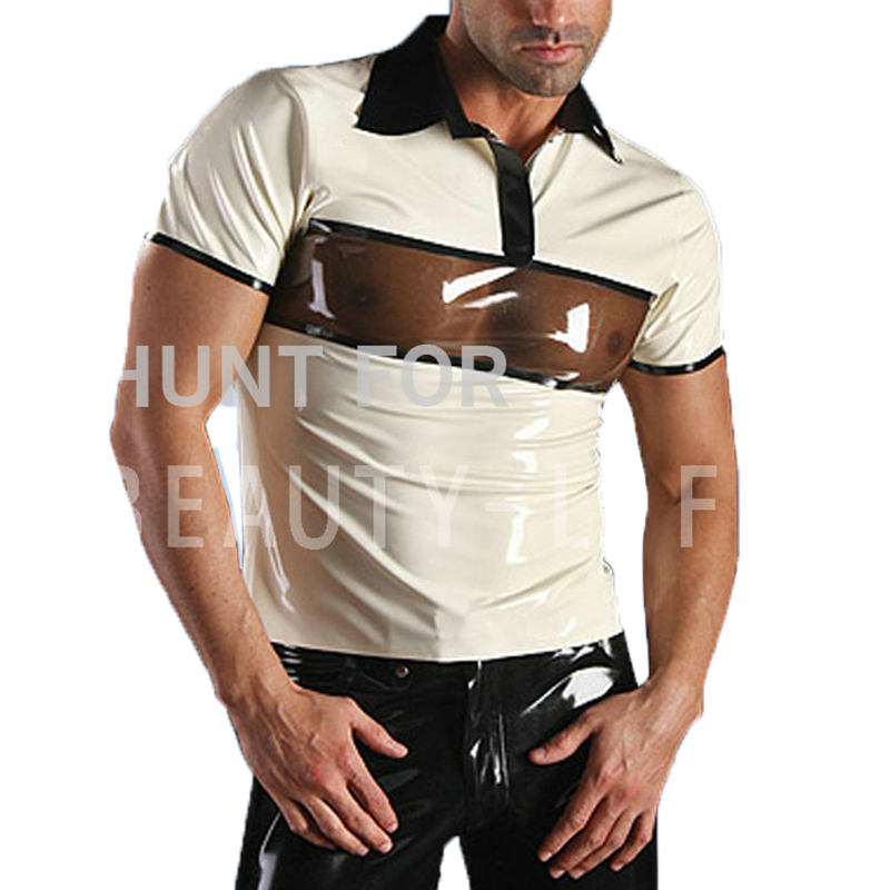 Latex T Shirts For Men Fetish Exotic Short Sleeve Patchwork Sexy Plus Size Customization