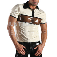 Latex T Shirts For Men Fetish Exotic Short Sleeve Patchwork Sexy Plus Size Customization 100% Natural Handmade Free Express