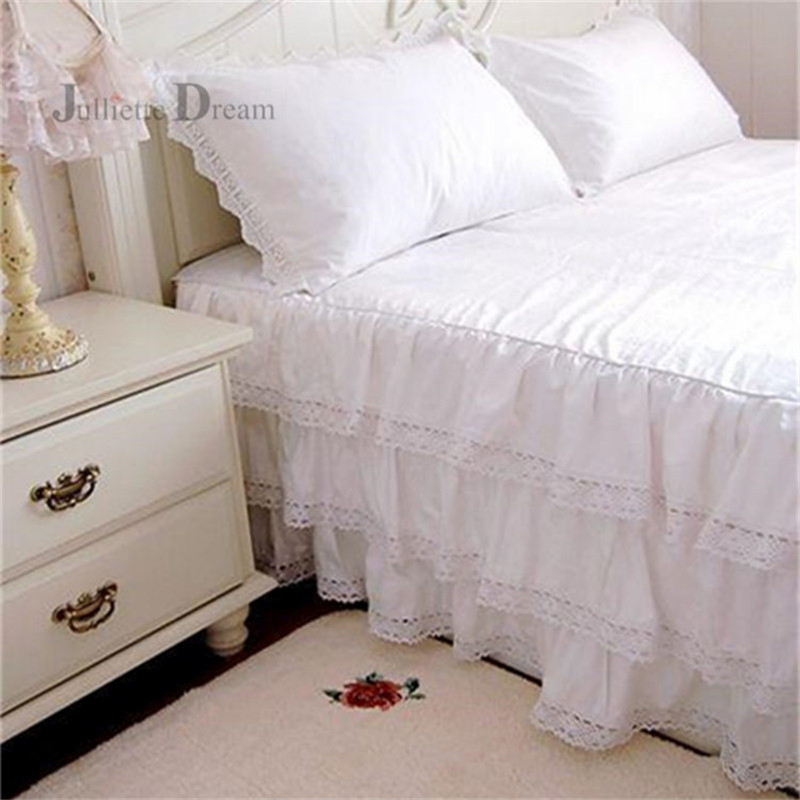 Top luxury 3 layers ruffle lace bedspread 100 cotton bed skirt bed sheet handmade bedspreads Queen