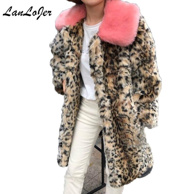 Женская Шуба из искусственного лисьего меха с леопардовым принтом, норковая шуба, длинная Шуба с розовым меховым воротником, длинная куртка, уличная одежда, искусственный мех, Тренч, кардиган