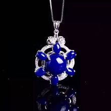 natural lapis lazuli  pendant 925 Sterling silver Natural gemstone Pendant Necklace trendy big Fire wheel women girl  jewelry