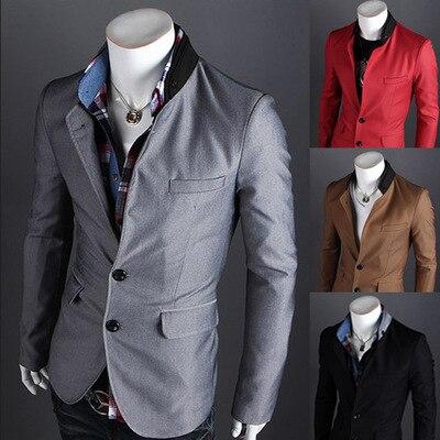 Новый список 2016 мужская свободного покроя воротник две кнопки пиджак заклинание цвет модный дизайн мужская тонкой пиджак
