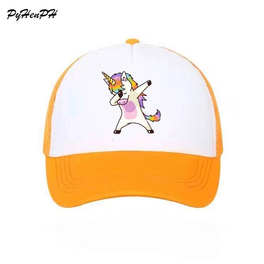 Women Girl Boy Unisex Unicorn Luck Pink Mesh Summer Cool Caps New Youth Young Girl Pink Unicorn Cool Net Mesh Hat Caps Summer