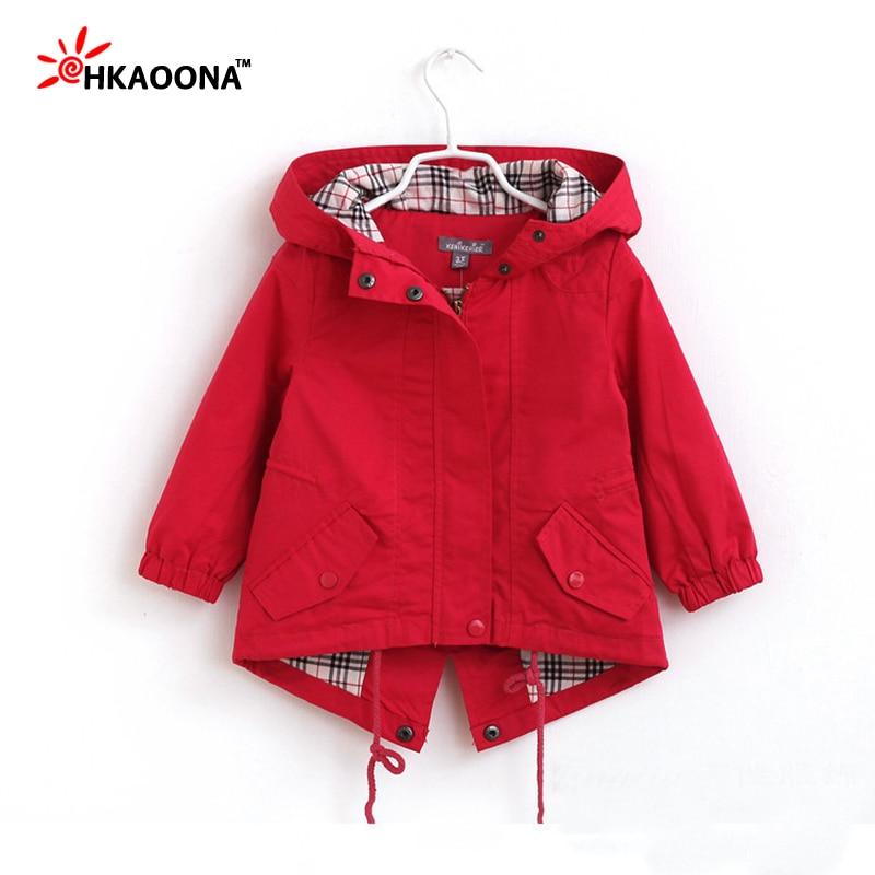 2016 Baby Girls Hooded Jacket Spring Autumn Fashion Solid Windbreaker Coat For Girls Plaid Inside Kids