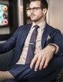 Azul marinho Slim Fit Side Slit Noivo Smoking Ternos Dos Homens Homem de Negócios Terno Formal Desgaste Ternos de Casamento