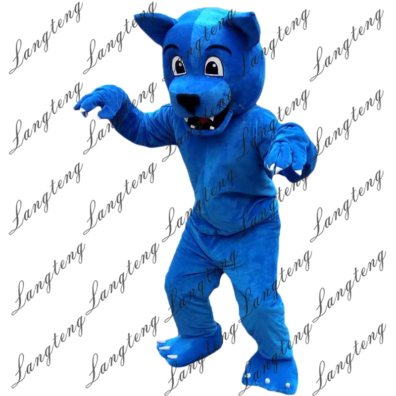 Hot Sale Blue Wolf Leopard Mascot Costume Adult Size Halloween Outfit Fancy Dress Suit Free Shipping 2019New