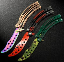 New in 2016 CS GO Counter Strike claw Karambit Knife game folding Knife butterfly rainbow game knife dull blade no edge tool