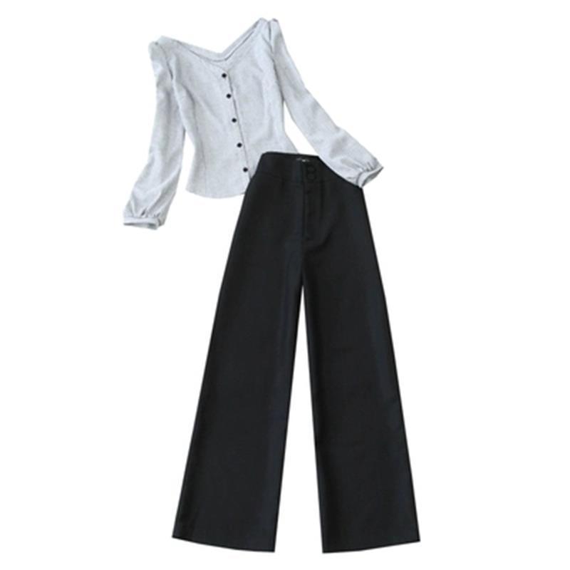 Joker Plaid Chemise Femmes Poule Grand Mode cou 1 Chevrons Pantalon Deux Large Printemps De V Costume Ensemble Jambe Nouveau pièce 1rrtvPq