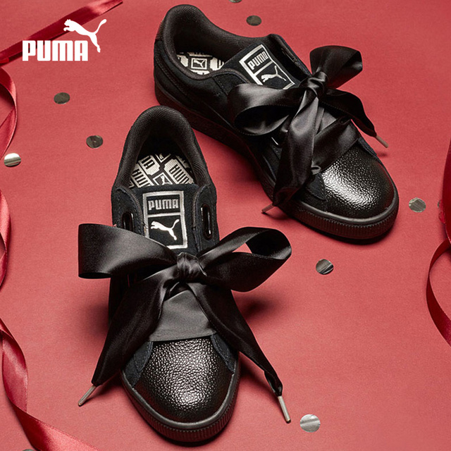 Original PUMA 2018 New Leather Bow Tie Women Leisure Shoe Rihanna  Breathable Badmiton Casual Skateboarding Sneakers 059f98620