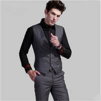 Men Formal Vest Brand Clothing Autumn Spring Winter Vest For Men Slim Fit Single Breasted Suit Blazer Waistcoat A2844