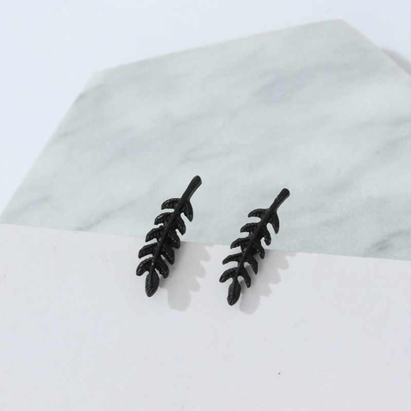 2017 جديد خمر الأقراط ريشة معدنية الكورية الجوف خارج يترك البسيط البسيط المعادن مربط القرط معلقة سحر boho brinco