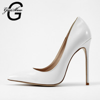GENSHUO Women Shoes 2016 Spring And Autumn New Shoes Ladies White High Heels Pumps Dress Bridal