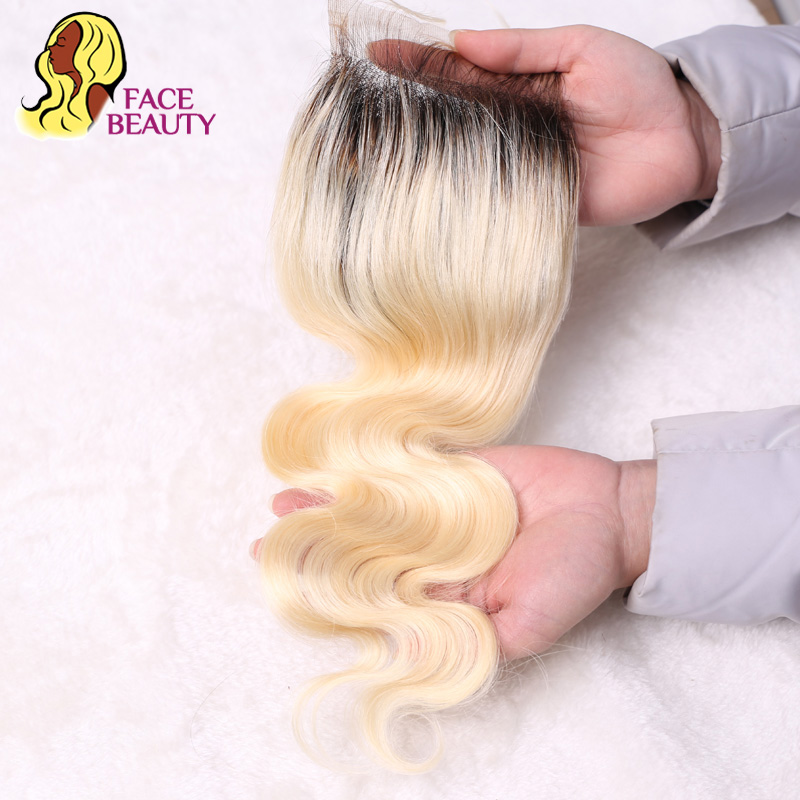Facebeauty Brazilian Body Wave 1B/613 Blonde Lace Closure 2 Tone Dark Root Remy Human Hair Closure Bleached Knots With Baby Hair