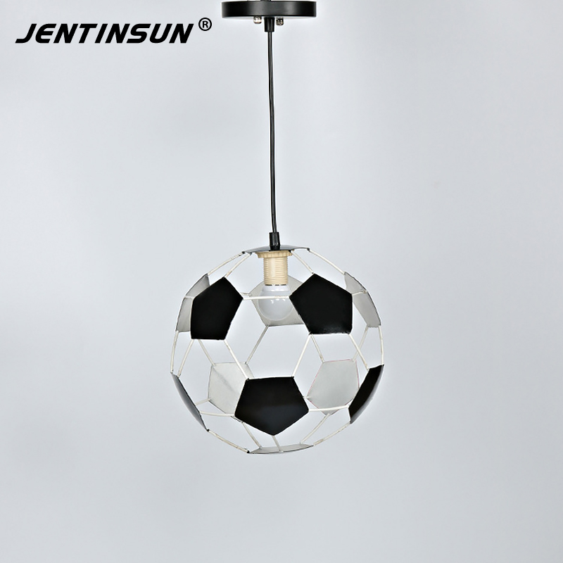 26cm New Round Soccer Ball Led Meal Pendant Light Creative Retro