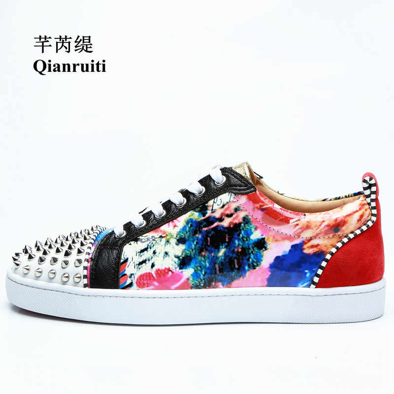Qianruiti Men Floral Flat Lace-up Sneakers Italy Street Shoes Printing  Flower Men Rivet Runway 266604a45b0d