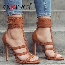 ENMAYER Buckle Strap  High Heels Sandals Women Shoes Heel Open Toe Size 34-43 ZYL2598