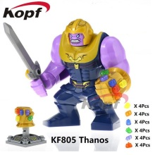 Super Heroes Single Sale Avengers 3 Thanos Infinity Gauntlet с 24pcs Power Stones Building Blocks Детские игрушки для детей KF805