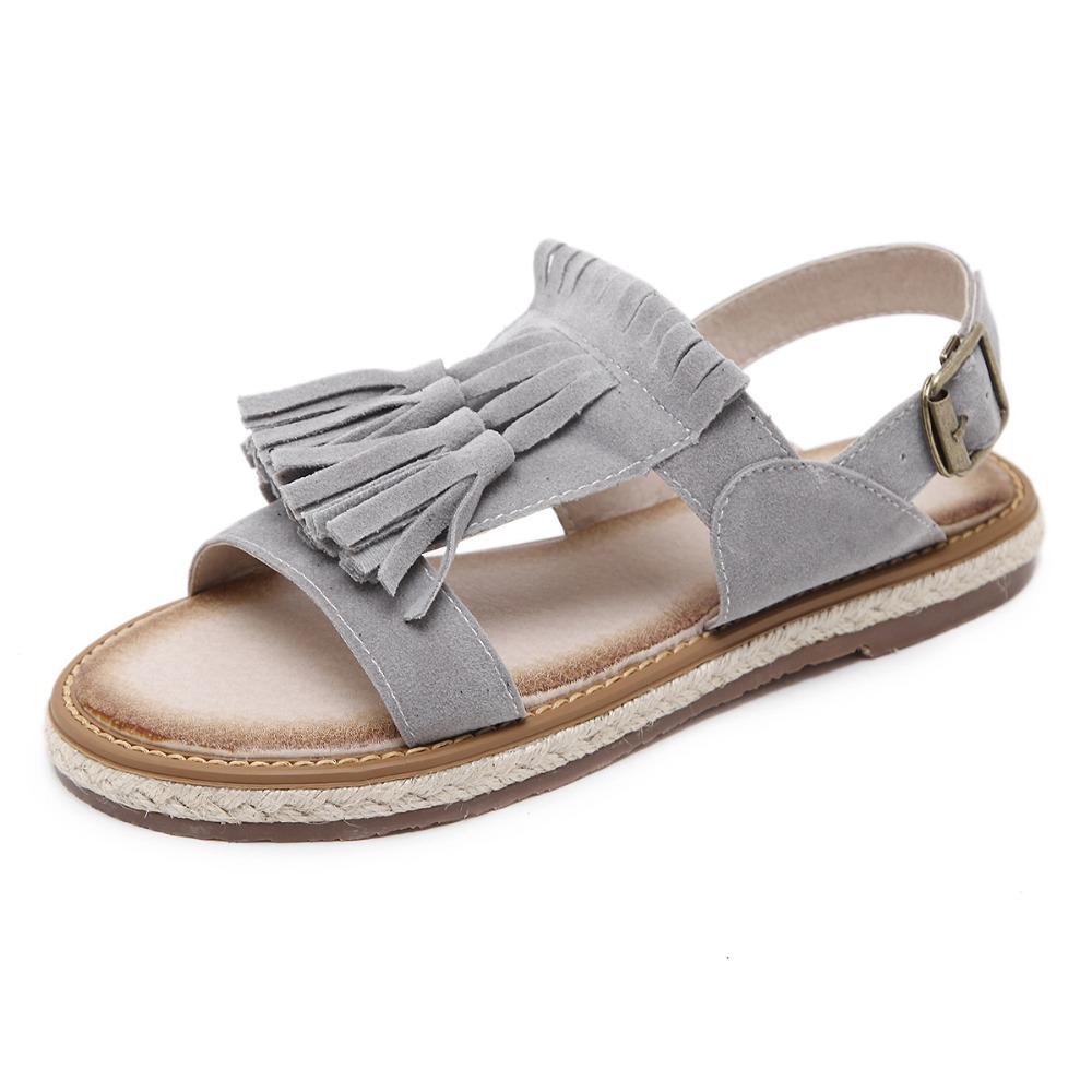 Sandalia Feminina summer women sandals faux suede tassel open toe sandals shoes fisherman espadrille shoes strap buckle flats  miquinha summer fashion casual shoes women sandalia feminina open round toe buckle strap square heel shoes sexy ladies sandals