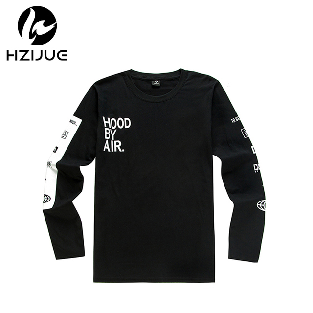 2017 HZIJUEMen's Hood By Air Long Sleeve Tee Shirts Man HBA Hip Hop t-shirts Been Trill Printed tshirts Men Camisetas Clothing