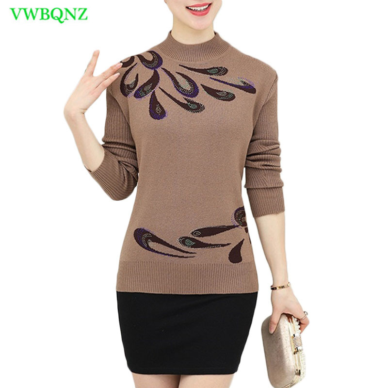 Autumn Winter Warm Pullovers Sweater Middle-Aged Women Flower Printed Wool Sweaters Female Noble Plus Size Knitting Shirt A681