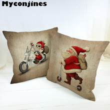 Lovely Santa Claus Merry Christmas Letter Bell Cushion Cover Star Vintage Bicycle Living Room Linen Home Car Decor Beer Pillow цена