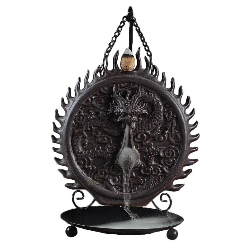 F pendentif Dragon brûleur d'encens décoration de la maison cône encens retour fumée encensoir en céramique porte-encens ornements de salon