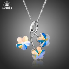 AZORA Brand Design Three Flowers Long Chain Pendant Necklace Women Fashion Tree Branches Necklace With Multicolor Crystal TN0203(China)
