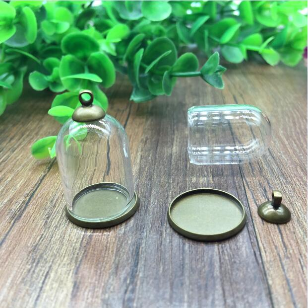 20sets/lot 25*18mm Tube Glass Globe Ordinary Antique Bronze Color Base Beads Cap Set Glass Vial Bottle Pendant Jewelry Findings
