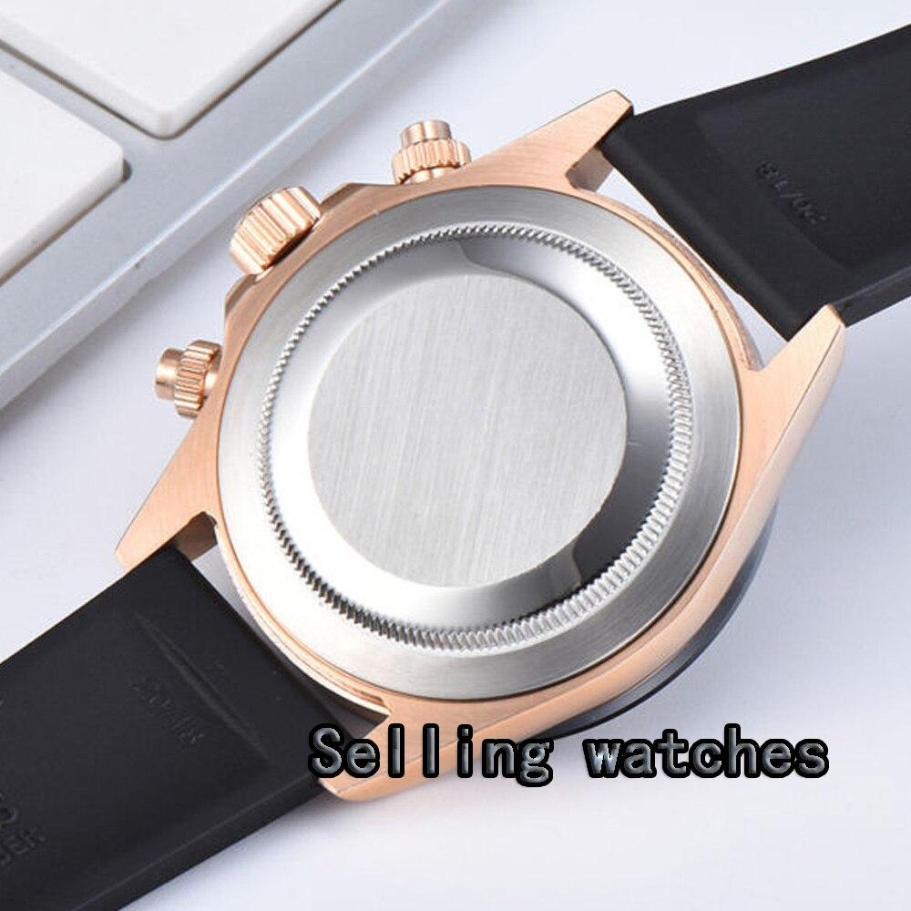 Montre pour hommes de luxe 39mm doré PARNIS chronographe complet verre saphir lumineux plaqué or Rose boîtier Quartz mouvement montre hommes - 5