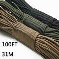 Paracord 550 cuerda de paracaídas cordón cuerda Mil Spec tipo III 7 hebra 100FT 31 m de escalada Camping supervivencia equipo de escalada cuerda