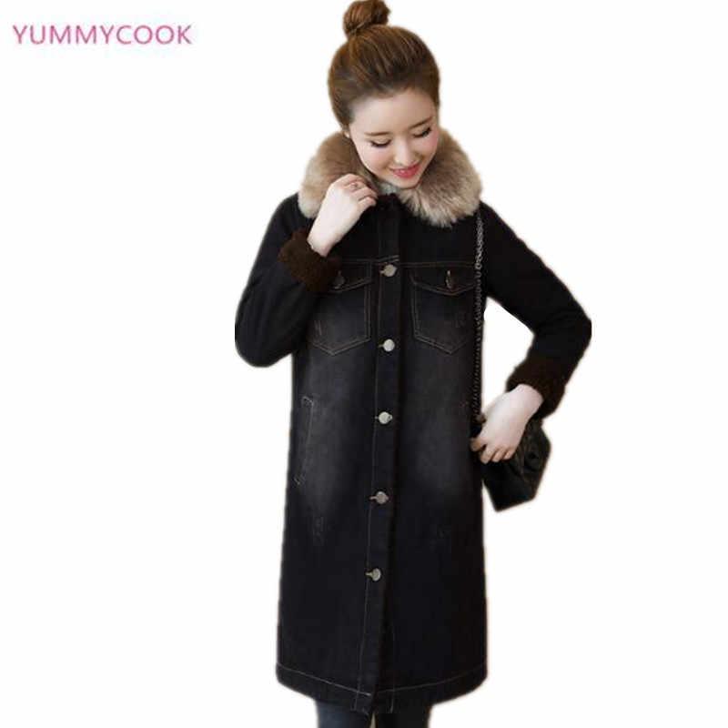 Джинсовая хлопковая теплая куртка, пальто для женщин 2018, зимняя новая женская куртка, длинная куртка из шерсти ягнёнка, кашемир, толстые хлопковые пальто 168