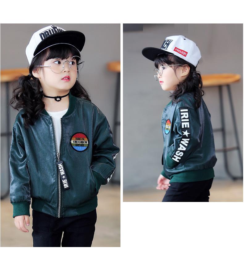 94e09ef03 fashion Girls Letters Design Jacket autumn Kids red black green coat ...