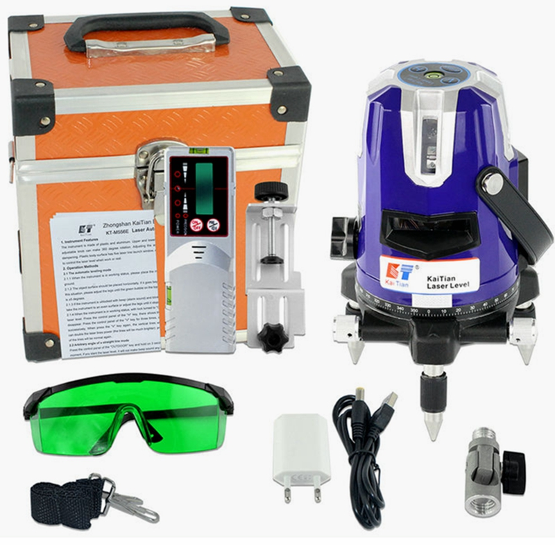 KaiTian Outdoor Laser Leve Self Leveling Green 5 Lines 6 Points with Tilt Function 532nm 360 Rotary Vertical Horizontal Lasers