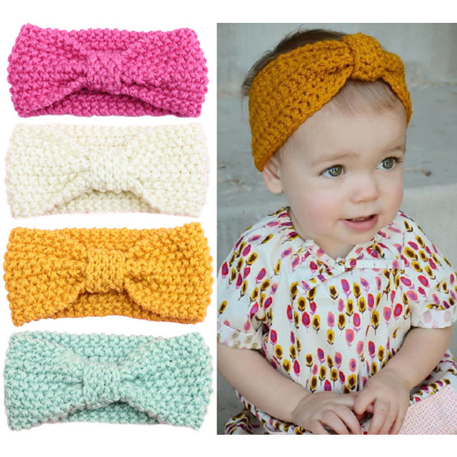 Baby Cute Autumn Crochet Bow Headbands Children Winter Knitted