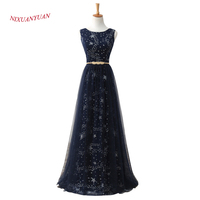 2017 New Elegant Navy Blue Tulle Evening Dress 2017 Long Formal Gowns A Line Mother Dresses