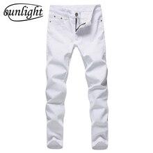 2019 Men Stretch Jeans Fashion white Denim Trousers For Male