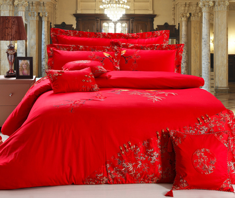 8pc 9pc 10pc Wedding Bedding Set Jacquard Cotton Satin