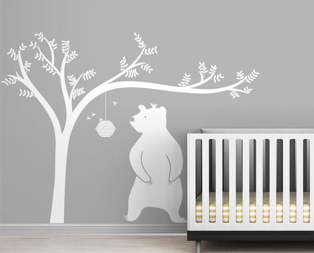 Large Honeyland Wall Decals White Tree Decal With Cute Bear For Kids Baby Nursery