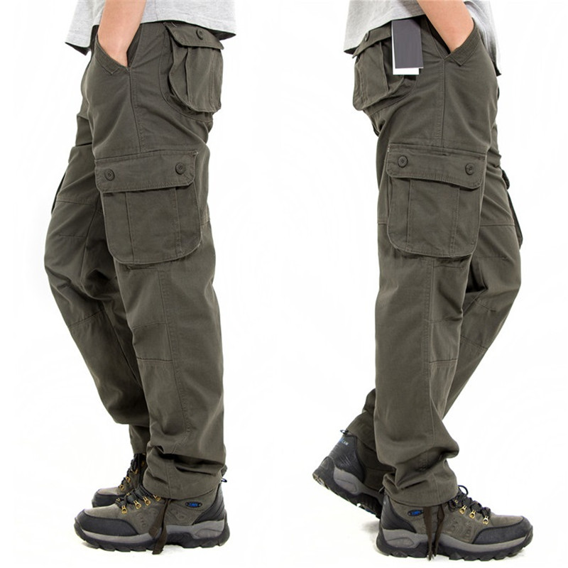 Outwear Cargo-Pants Long-Trousers Military Multi-Pockets Large-Size Men's Straight Casual