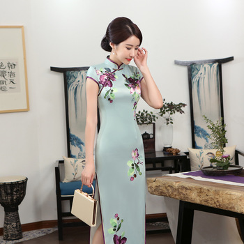 National Long Chinese Dress Women's Satin Cheongsam Size S to 3XL