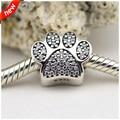 Serve Pandora pulseira e colar da pata de prata com Cubic Zirconia 925 prata encantos DIY