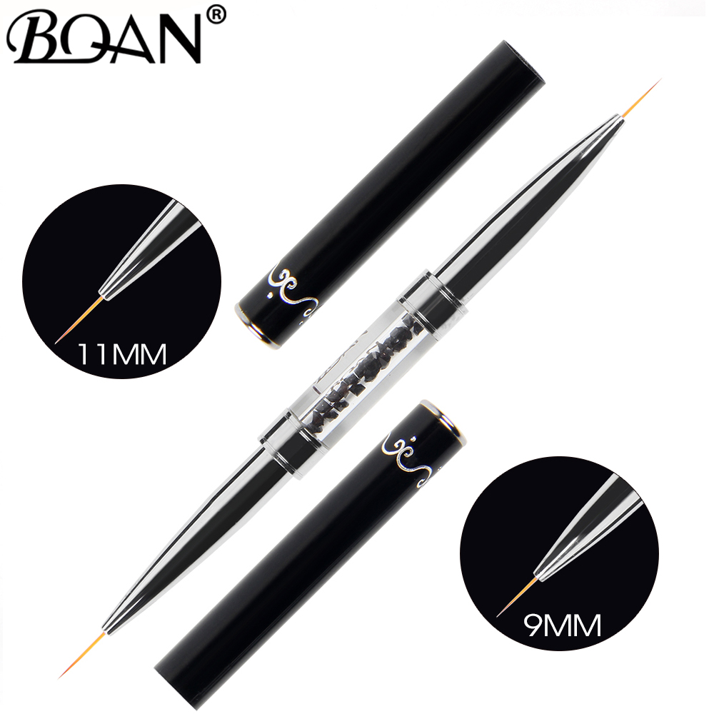 BQAN Black Double Head Crystal Handle 9mm&11mm Drawing Brush Liner Brush Painting Pen Gel Polish Crystal Nail Art Manicure Tools